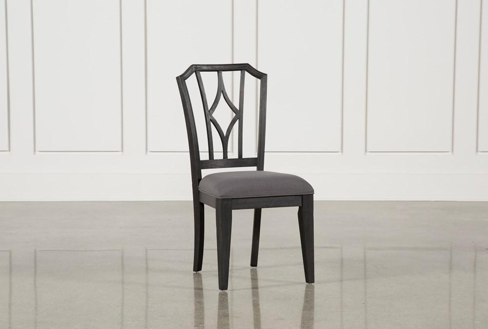 Caira Black Upholstered Diamond Back Side Chair
