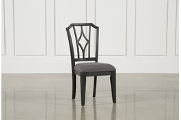 Caira Black Upholstered Diamond Back Side Chair