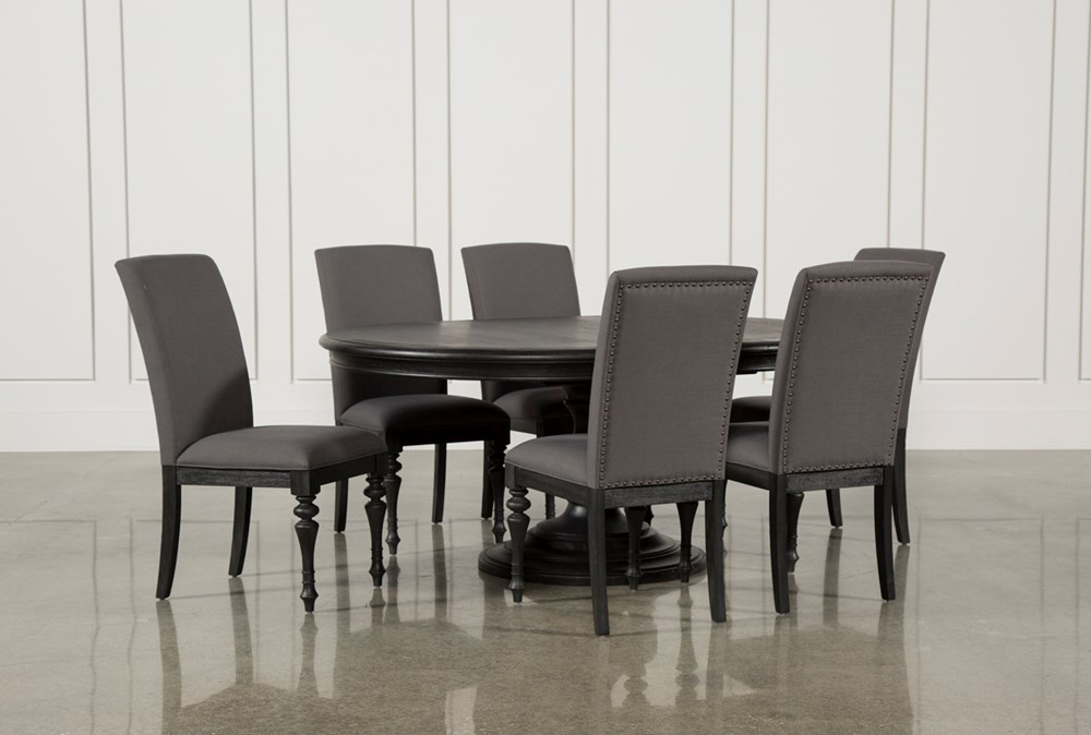 Caira Black 7 Piece Dining Set W/Upholstered Side Chairs