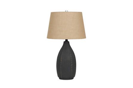 Table Lamp-Hammered Black Urn