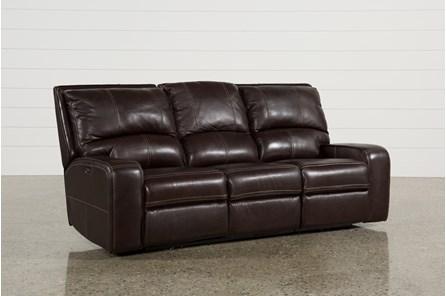 Clyde Dark Brown Leather Power Reclining Sofa W/Power Headrest & Usb