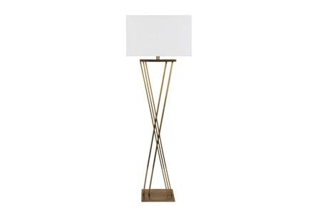 Floor Lamp-Brass X Base