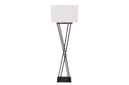 Floor Lamp-Black Brass X Base