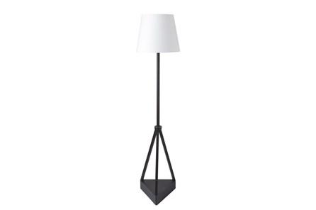 Outdoor Floor Lamp-Iron Pyramid White Shade