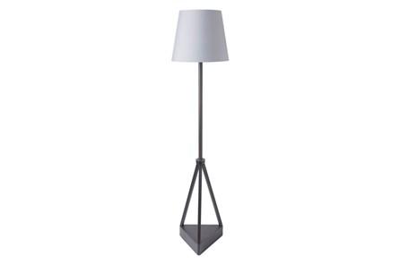 Outdoor Floor Lamp-Iron Pyramid Grey Shade