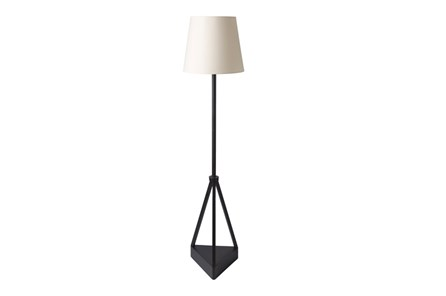 Outdoor Floor Lamp-Iron Pyramid Ivory Shade