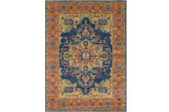 63X87 Rug-Ivete Medallion Blue/Orange