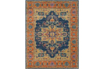111X150 Rug-Ivete Medallion Blue/Orange