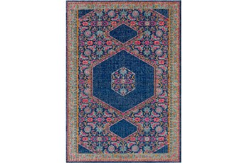 63X87 Rug-Amori Hexagon Medallion Dark Blue/Raspberry