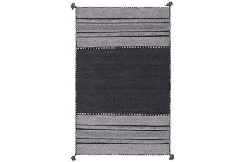 24X36 Rug-Tassel Cotton Flatweave Black