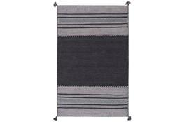 48X72 Rug-Tassel Cotton Flatweave Black