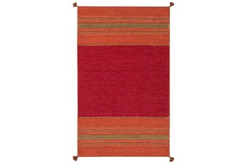 48X72 Rug-Tassel Cotton Flatweave Orange