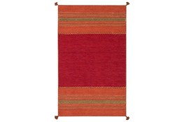 96X120 Rug-Tassel Cotton Flatweave Orange