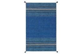 48X72 Rug-Tassel Cotton Flatweave Blue