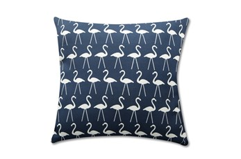 Accent Pillow-Navy Flamingos 18X18