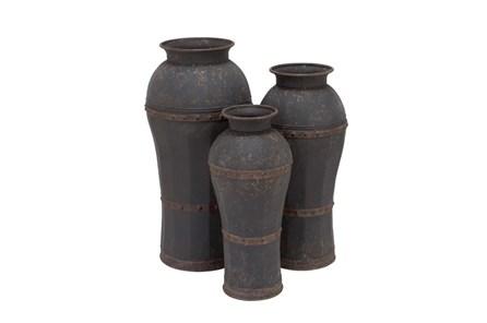 3 Piece Set Dark Metal Vases