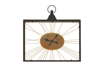 Metal Wood And Glass Wall Clock