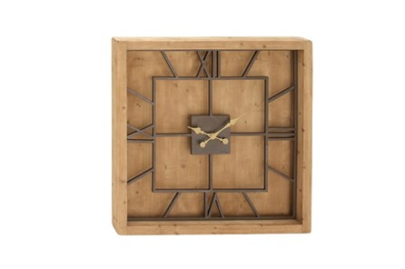 Wood Metal Square Wall Clock