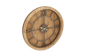 Wood Metal Circle Wall Clock