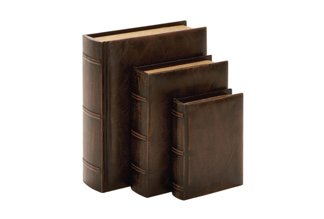 3 Piece Set Aged Leather Boxes - 360