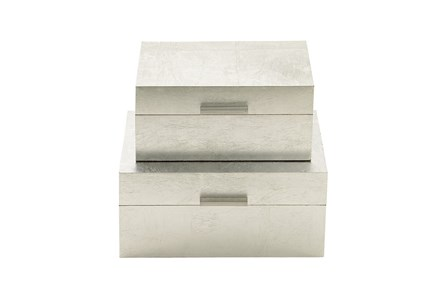 2 Piece Set Silver Boxes