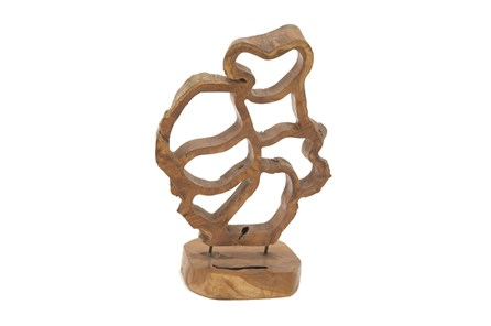 Teak Sculpture On A Stand