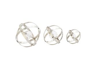 3 Piece Set Metal Acrylic Silver Orbs