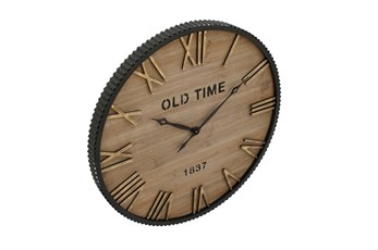Wood Metal Wall Clock