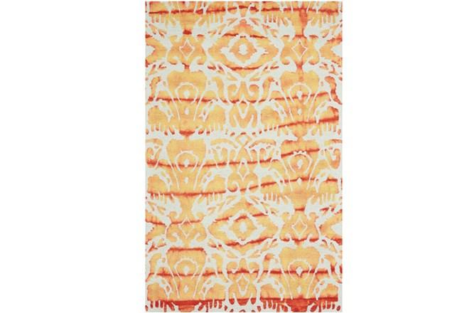 114X162 Rug-Orange Tie Dye Ikat - 360