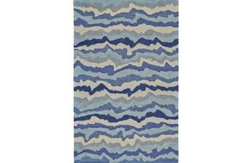 60X96 Rug-Blue Tones Rippled Lines