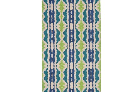 108X156 Rug-Blue And Lime Global Stripes