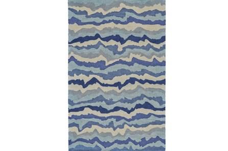 108X156 Rug-Blue Tones Rippled Lines