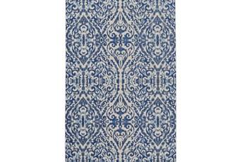 122X165 Rug-Royal Blue Distressed Damask