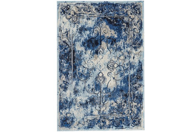 122X165 Rug-Royal Blue Distressed Medallion - 360
