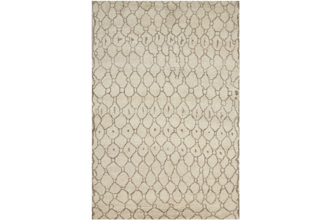 66X102 Rug-Undyed Natural Wool Organic Geometric - 360