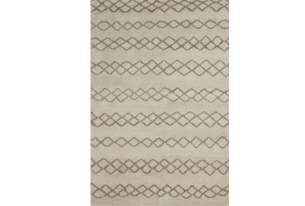 66X102 Rug-Undyed Natural Wool Diamond Stripes