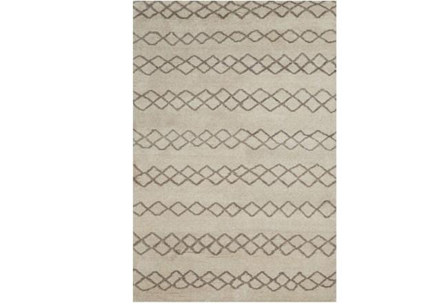 66X102 Rug-Undyed Natural Wool Diamond Stripes - 360