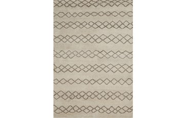 114X162 Rug-Undyed Natural Wool Diamond Stripes