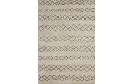 114X162 Rug-Undyed Natural Wool Diamond Stripes