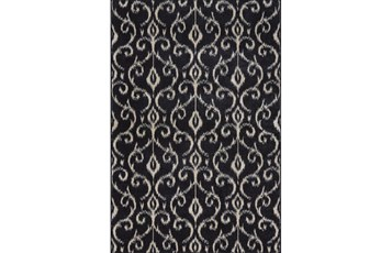 60X96 Rug-Black And Ivory Scroll
