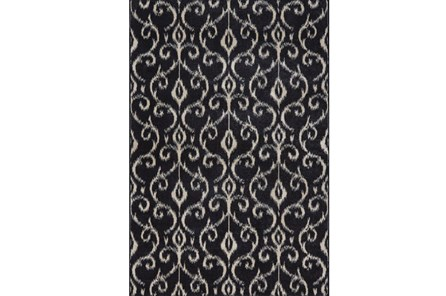 26X48 Rug-Black And Ivory Scroll
