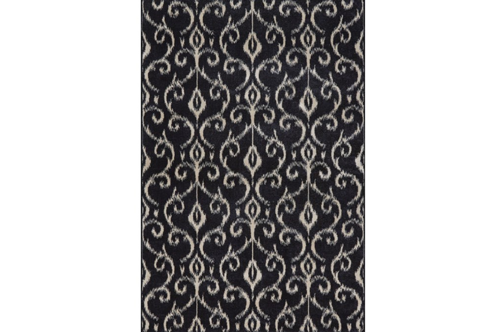 120X158 Rug-Black And Ivory Scroll