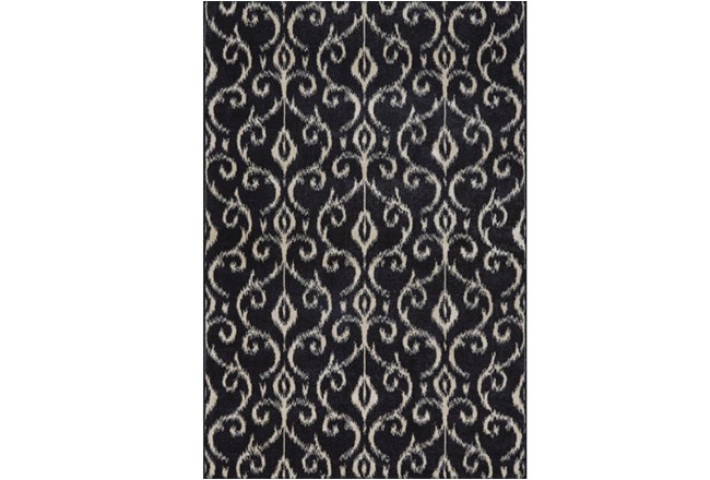 120X158 Rug-Black And Ivory Scroll - 360
