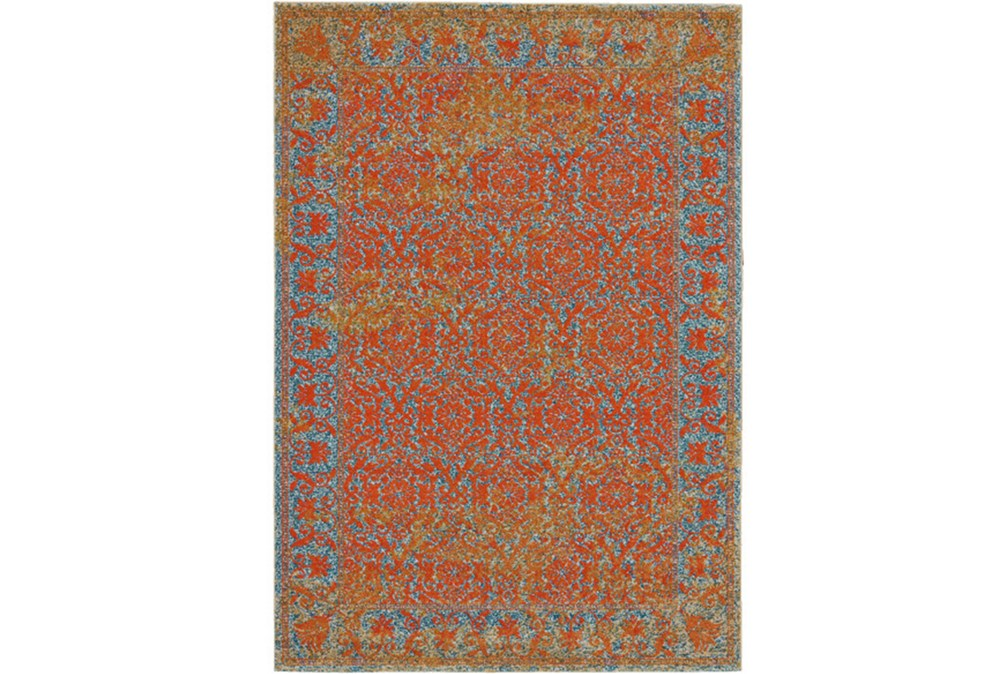 96X132 Rug-Vibrant Melon And Blue Tapestry