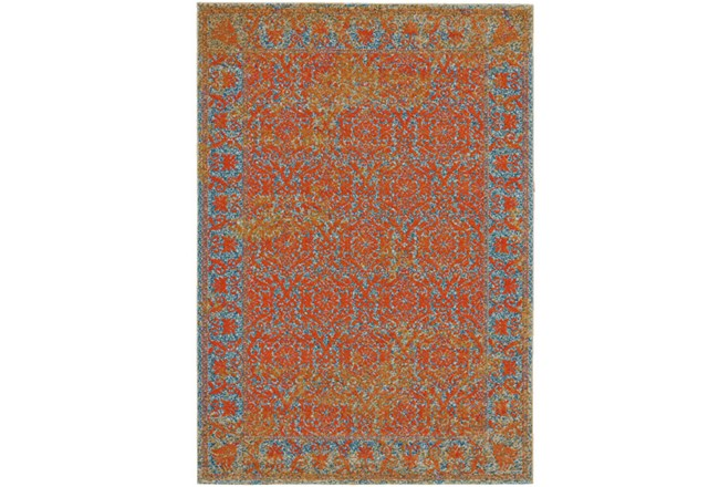 96X132 Rug-Vibrant Melon And Blue Tapestry - 360