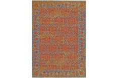 120X158 Rug-Vibrant Melon And Blue Tapestry