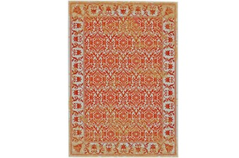 120X158 Rug-Vibrant Orange And Yellow Tapestry