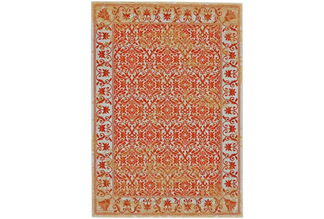 120X158 Rug-Vibrant Orange And Yellow Tapestry - 360