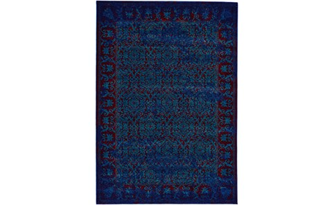 120X158 Rug-Vibrant Blue And Red Tapestry