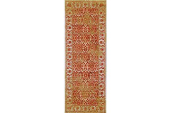 34X94 Rug-Vibrant Orange And Yellow Tapestry